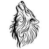 Wolf head howl design tribal tattoo vector. Sketch tattoo howling wolf black and white Stock Photography
