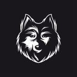Wolf head monochrome symbol. Vector vintage illustration. Royalty Free Stock Photo