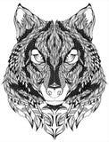 Wolf head Tattoo. Vector illustration. stock image