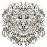 Wolf head with tribal aztec ornament in boho style. Tattoo art. Royalty Free Stock Photos
