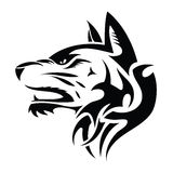 Wolf head - tribal tattoo Stock Photo