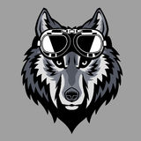 Wolf head wearing a goggle Stock Images
