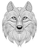Wolf head in zentangle style. Adult antistress coloring page. Black and white hand drawn doodle for coloring book. Ethnic pattern, ornament Royalty Free Stock Photos