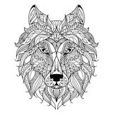 Wolf head zentangle stylized, coloring page. Royalty Free Stock Photo