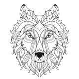 Wolf head zentangle stylized, coloring page. Stylized wolf head  on white background. Image for coloring book, tattoo template. Vector Royalty Free Stock Photos
