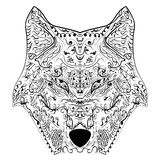Wolf head zentangle stylized, vector, illustration Stock Images