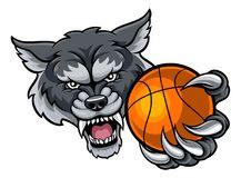 Wolf Holding Basketball Ball Mascot Photographie stock libre de droits