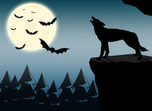Wolf howling at full moon. Full moon and howling wolf on cliff at nightfall stock illustration