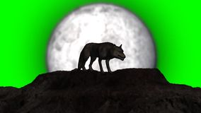 Wolf howling at full moon + individual elements 1 - green screen