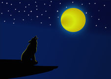 Wolf howling at the full moon at night. Royalty Free Stock Photography