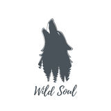 Wolf howling. Logo template. Royalty Free Stock Photo