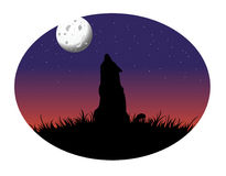 Wolf howling moon. Cartoon vector illustration of a wolf howling moon Royalty Free Stock Photo