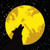 Wolf howling at the moon. Iillustration Royalty Free Stock Image