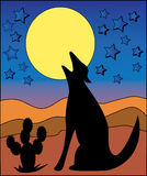 Wolf Howling at the Moon vector illustration