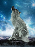 Wolf Howling Moon Illustration branco Fotos de Stock Royalty Free