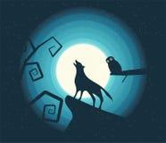 Wolf Howling nella luce della luna Fotografie Stock