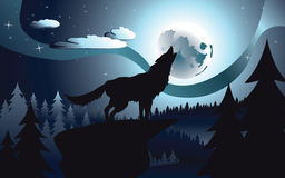 Wolf Howling in the Night Forest Royalty Free Stock Image