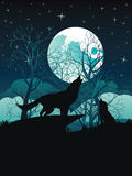 Wolf Howling in the Night Forest. Silhouette of the wolf howling at the moon in the forest at night Stock Photography