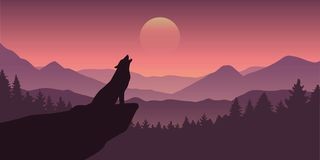 Free Wolf Howls At Full Moon Purple Wildlife Nature Landscape Stock Photos - 144988943
