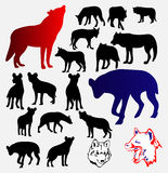 Wolf Hyena Silhouettes and Logo Stock Photography