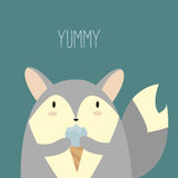 Wolf with ice cream. Vector illustration of cute simple wolf with ice cream in his hands Stock Photos