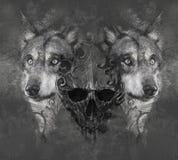 Wolf illustration with skull. Tattoo