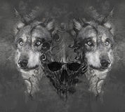 Wolf Illustration With Skull. Tattoo Royalty Free Stock Photos