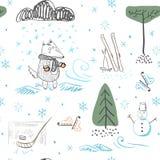 Wolf im Winter in einem schneebedeckten Wald während Schneefälle Nahtloses Muster stock abbildung