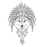 Wolf in the Indian roach. Indian feather headdress of eagle. Hand draw vector illustration