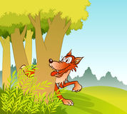 Wolf in jungle. A hungry wolf between jungle trees Stock Photo