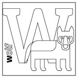 Wolf, letter W coloring page Royalty Free Stock Photo