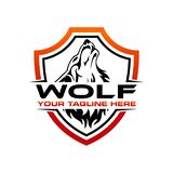 Wolf logo design template stock illustration