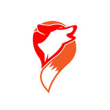 Wolf logo - Head and tail of a wolf. vector illustrator Stock Photography