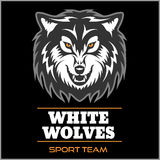 Wolf logo for a sport team. Isolated on black background Royalty Free Stock Photography