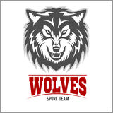 Wolf logo for a sport team. Isolated on white background Royalty Free Stock Images