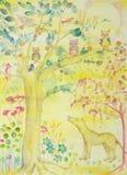 Wolf Looking para arriba en el árbol de la vida seguro stock de ilustración