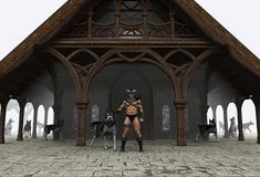 Wolf Lord. The Wolf Lord and his minions stand at the doors of his great hall royalty free illustration
