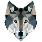 Wolf low poly design geometric, vector animal illustration  face logo icon Royalty Free Stock Image