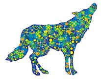 Wolf lupus silhouette with colorful flowers and circles isolated picture stock illustration