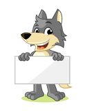 Wolf Mascot Cartoon Vector Illustration Hold Banner Stock Photography