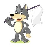 Wolf Mascot Cartoon Vector Illustration Hold Flag Stock Images