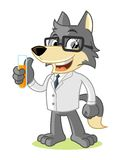 Wolf Mascot Cartoon Vector Illustration scientist Royalty Free Stock Photo
