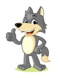 Wolf Mascot Cartoon Vector Illustration Thumbs Up Stock Photo
