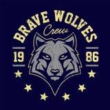 Wolf Mascot Grunge Emblem Design illustrazione di stock