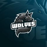 Wolf mascot logo design vector with modern illustration concept style for badge, emblem and tshirt printing. angry wolf