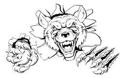 Wolf mascot smashing out Royalty Free Stock Photography