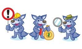 Wolf Mascot Vector mit Zeichen lizenzfreie abbildung