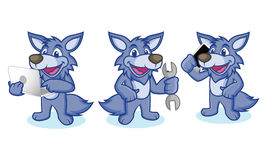 Wolf Mascot Vector with phone Stock Image