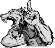 Wolf-Maskottchen-Karosserien-Karikatur Lizenzfreie Stockbilder