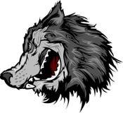 Wolf-Maskottchen-Kopf-Karikatur Stockfotografie